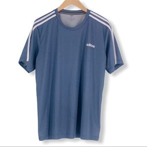 ADIDAS ClimaLite Athletic Shirt w Three Stripes Lg